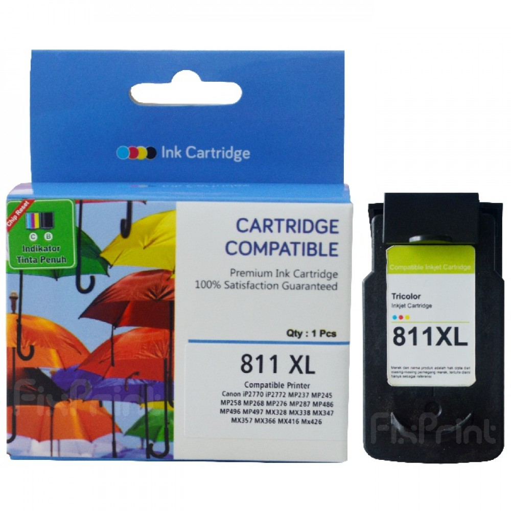 Cartridge Tinta Recycle Canon CL811 XL Color Plus Chip Reset, Cartridge Printer Canon iP2770 iP2772 MP237 MP245 MP258 MP268 MP276 MP287 MP486 MP496 MP497 MX328 MX338 MX347 MX357 MX366 MX416 MX426 New