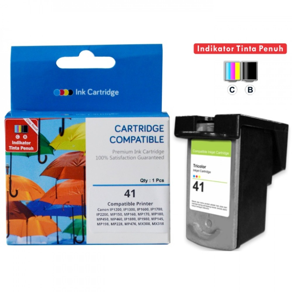 Cartridge Recycle Canon CL-41 CL41 41 Color + CHIP, Tinta Printer Canon iP1200 iP1300 iP1600 iP1700 iP2200 MP150 MP160 MP170 MP180 MP450 MP460 iP1880 iP1980 MP145 MP198 MP228 MP476 MX308 MX318