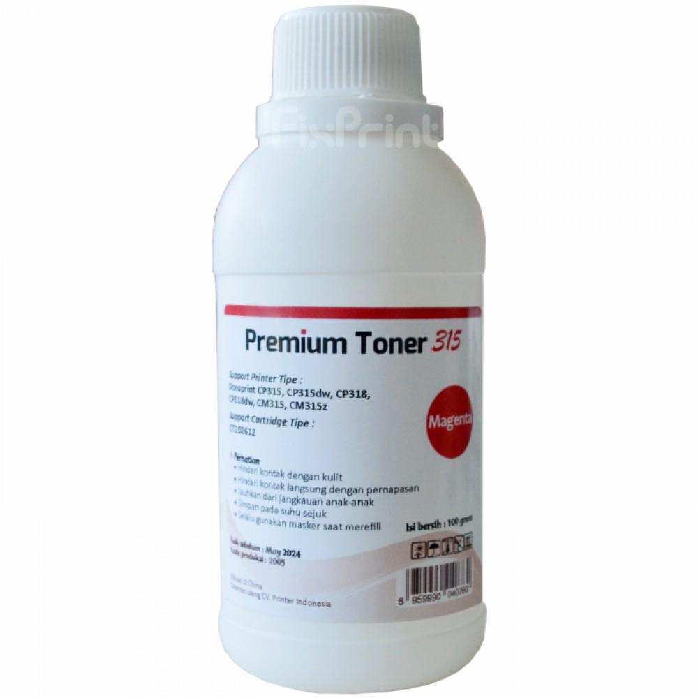 Serbuk Toner Cartridge Printer DocuPrint CP315 CP315dw CP318 CP318dw Magenta Bubuk 1x Refill Color CM315 CM315z Fuji Xerox CT202612 100gr
