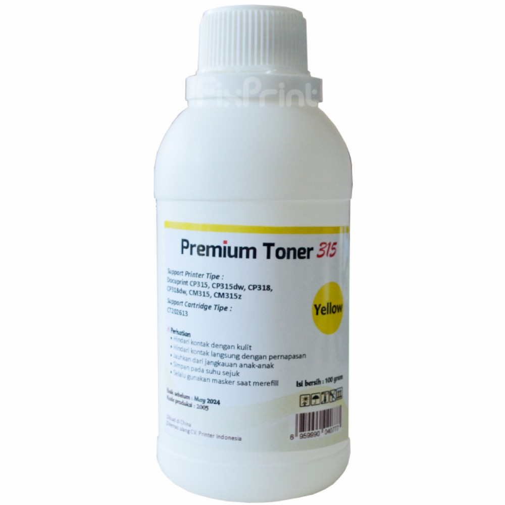 Serbuk Toner Cartridge Printer DocuPrint CP315 CP315dw CP318 CP318dw Yellow Bubuk 1x Refill Color CM315 CM315z Fuji Xerox CT202613 100gr