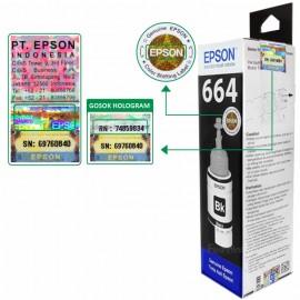 Tinta Refill Epson Original 664 t6641 Black 70ml, Printer L110 L120 L210 L220 L300 L310 L350 L355 L360 L365 L380 L405 L455 L485 L550 L555 L565 L100 L200