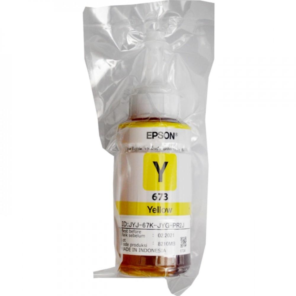 Tinta Refill Loose Pack Epson Original 673 t6734 Yellow 70ml, Tinta Refill Printer Epson L800 L805 L810 L850 L1800