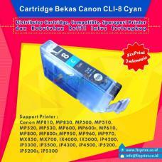 Cartridge Bekas Canon CLI-8C Cyan, Tinta Printer Canon iX4000 iX5000 iP3300 iP3500 iP4200 iP4300 iP4500 iP5200 iP5200R iP5300 MP500 MP510 MP520 MP530 MP600 MP600R MP610 MP800 MP800R MP810 MP830 MP970 MX700 MX850