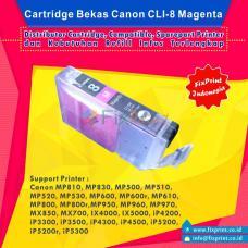 Cartridge Bekas Canon CLI-8M Magenta, Tinta Printer Canon iX4000 iX5000 iP3300 iP3500 iP4200 iP4300 iP4500 iP5200 iP5200R iP5300 MP500 MP510 MP520 MP530 MP600 MP600R MP610 MP800 MP800R MP810 MP830 MP970 MX700 MX850