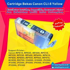 Cartridge Bekas Canon CLI-8Y Yellow, Tinta Printer Canon Canon iX4000 iX5000 iP3300 iP3500 iP4200 iP4300 iP4500 iP5200 iP5200R iP5300 MP500 MP510 MP520 MP530 MP600 MP600R MP610 MP800 MP800R MP810 MP830 MP970 MX700 MX850