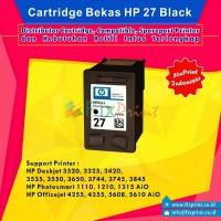 Cartridge Bekas HP 27 Black C8727AA, Tinta Printer HP Deskjet 3320 3325 3420 3535 3550 3650 3744 3745 3845 - HP PSC 1110 1210 1315 AiO - HP Officejet 4255 4355 5608 5610 AiO