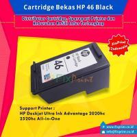 Cartridge Bekas HP 46 Black CZ637AA, Tinta Printer HP DeskJet 2529 4729 2029 2020hc 2520hc All-in-One