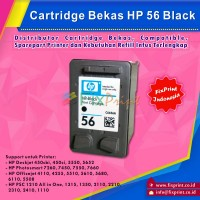 Cartridge Bekas HP 56 Black C6656AA, Tinta Printer HP Officejet 4110 4255 5510 5610 5680 6110 5508 - HP Deskjet 450cbi 450ci 5550 5652 - HP Photosmart 7260 7450 7550 7660 HP PSC 1210 All in One