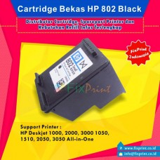 Cartridge Bekas HP 802 Black CH563ZZ, Tinta Printer HP Deskjet 1000 1010 1011 1050 1510 1511 2000 2050 3000 3050 All-in-One