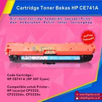 Cartridge Bekas HP CE741A Cyan HP 307, Toner Printer HP Color Laserjet CP5225 CP5225dn CP5225n