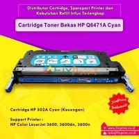Cartridge Bekas Q6471A 502A Cyan, Printer HP Laserjet 3600 3600dn 3600n