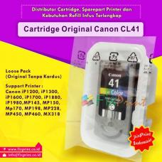 Cartridge Loose Pack Original Canon CL-41 CL41 Color Tanpa Box, Tinta Printer Canon iP1200 iP1300 iP1600 iP1700 iP2200 MP150 MP160 MP170 MP180 MP450 MP460 iP1880 iP1980 MP145 MP198 MP228 MP476 MX308 MX318 Loose Pack