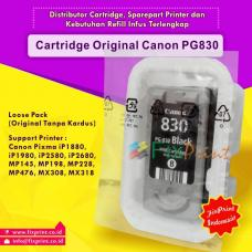 Cartridge Loose Pack Original Canon PG-830 PG830 830 Black Tanpa Box, Tinta Printer Canon IP1180 IP1880 IP1980 2580 2680 MP145 MP198 MP228 MX476 MX308 MX318 Loose Pack