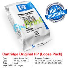 Cartridge Loose Pack Original HP 802 Black CH563ZZ, Tinta Printer HP Deskjet 1000 1010 1011 1050 1510 1511 2000 2050 3000 3050 All-in-One