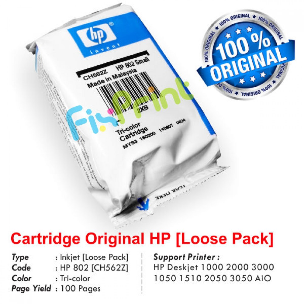 Cartridge Loose Pack Original HP 802 Color CH562ZZ, Tinta Printer HP Deskjet 1000 1010 1011 1050 1510 1511 2000 2050 3000 3050 All-in-One