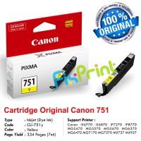 Cartridge Original Canon CLI-751 CLI751 751 751Y CLI-751Y Yellow, Tinta Printer Canon iX6770 iX6870 MG5470 MG5570 MG5670 MG6370 MG6470 MG7170 MG7570 MX727 MX927 iP7270 iP8770
