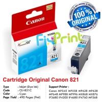 Cartridge Original Canon CLI-821 CLI821 821 821C CLI-821C Cyan, Tinta Printer Canon MP545 MP558 MP628 MP638 MP648 MP988 MP996 MX868 MX876 iP3680 iP4200 iP4680 iP4760 MP568