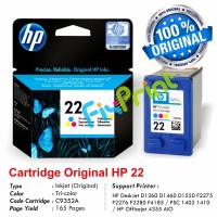 Cartridge Original HP 22 Color C9352AA, Tinta Printer HP DeskJet D1360 D1460 D1550 D1560 D2360 D2460 3920 3940 F370 F380 F2120 F2179 F2180 F2235 F2275 F2276 F2280 F4185 AiO - HP PSC 1402 1410 AiO - HP Officejet 4355 AiO