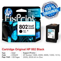 Cartridge Original HP 802 Black CH563ZZ, Tinta Printer HP Deskjet 1000 1010 1011 1050 1510 1511 2000 2050 3000 3050 All-in-One