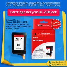 Cartridge Recycle Canon BC-20 BC20 Black, Tinta Printer Canon Canon BJC-2000 BJC-2010 BJC-2100 BJC-2110 BJC-2115 BJC-2120 BJC-2125 BJC-323f BJC-4000 BJC-400j BJC-4100 BJC-410j CFX-B380IF - Fax B210c - MultiPass C100 C2500 C3000