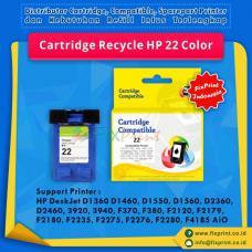 Cartridge Recycle HP 22 Color C9352AA, Tinta Printer HP DeskJet D1360 D1460 D1550 D1560 D2360 D2460 3920 3940 F370 F380 F2120 F2179 F2180 F2235 F2275 F2276 F2280 F4185 AiO - HP PSC 1402 1410 AiO - HP Officejet 4355 AiO