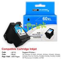 Cartridge Recycle HP 60 Black XL CC641W, Tinta Printer HP Deskjet D1660 D2560 D2566 D2660 D2666 D5560 F2410 F2476 F2480 F4230 F4250 F4280 - HP Photosmart C4680 C4780
