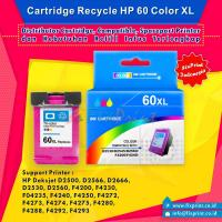 Cartridge Recycle HP 60 Color XL CC643WA, Tinta Printer HP Deskjet D1660 D2560 D2566 D2660 D2666 D5560 F2410 F2476 F2480 F4230 F4250 F4280 - HP Photosmart C4680 C4780