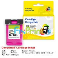 Cartridge Recycle HP 678 Color XL CZ108AA, Tinta Printer HP 1515 2515 2545 4515 1015 1018 1515 1518 2515 2545 2548 2645  2648 3515 3545 3548 4515 4518 4645 4648 e-All-in-One