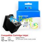Cartridge Recycle HP 702 Black CC660AA, Tinta Printer HP Officejet J3508 J3608 J5508 All-in-One
