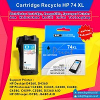 Cartridge Recycle HP 74 Black XL CB335WA, Tinta Printer HP Deskjet D4260 D4360 - HP Photosmart C4280 C4345 C4380 C4480 C4580 C4599 C5280 AiO D5360 - HP Officejet J5780 J6480 AiO