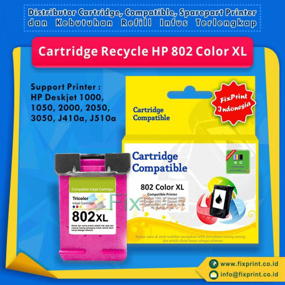 Cartridge Recycle HP 802 Color XL + CHIP, Tinta Printer HP Deskjet 1000 1010 1011 1050 1510 1511 2000 2050 3000 3050 All-in-One
