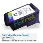 Cartridge Tinta Bekas Canon CL57 CL-57 CL 57 Color, Cartridge Printer Canon E400 E410 E417 E460 E470 E477 E480 E3170 E3177 E4270 Bekas