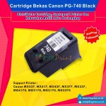 Cartridge Tinta Bekas Canon PG740 PG-740 PG 740 Black, Cartridge Printer Canon TS5170 MG2170 MG2270 MG3170 MG3270 MG3570 MG3670 MG4170 MG4270 MX377 MX397 MX437 MX457 MX477 MX517 MX527 MX537 Bekas