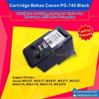 Cartridge Tinta Bekas Canon PG740 PG-740 PG 740 Black, Cartridge Printer Canon TS5170 MG2170 MG2270 MG3170 MG3270 MG3570 MG3670 MG4170 MG4270 MX377 MX397 MX437 MX457 MX477 MX517 MX527 MX537 Bekas