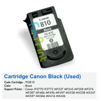 Cartridge Tinta Bekas Canon PG810 PG-810 PG 810 Black, Cartridge Printer Canon iP2770 iP2772 MP237 MP245 MP258 MP268 MP276 MP287 MP486 MP496 MP497 MX328 MX338 MX347 MX357 MX366 MX416 MX426 Bekas