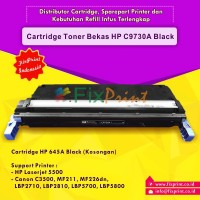 Cartridge Toner Bekas HP 645A C9730A Black, Printer HP Laserjet 5500 Canon C3500 MF211 MF226dn LBP-2710 LBP-2810 LBP5700 LBP5800
