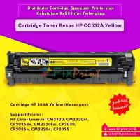 Cartridge Toner Bekas HP CC532A 304A Yellow, Printer HP Laserjet CM2320 CM2320n CM2320nf CM2320fxi CP2020 CP2025 CP2025n CP2025dn