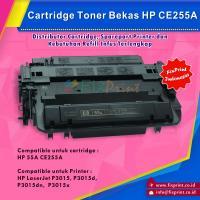 Cartridge Toner Bekas HP CE255A 55A, Printer HP LaserJet P3015 P3015d P3015dn P3015x - Enterprise 500 MFP M525 - HP LaserJet Pro M521
