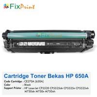 Cartridge Toner Bekas HP CE270A 650A Black, Printer HP LaserJet CP5520 CP5525dn CP5525n CP5525xh M750dn M750n M750xh