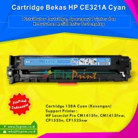 Cartridge Toner Bekas HP CE321A 128A Cyan, Printer HP LaserJet Pro CM1415fn CM1415fnw CP1525n CP1525nw