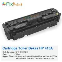 Cartridge Toner Bekas HP CF412A 410A Yellow, Printer HP LaserJet Pro M452dn M452dw M452nw MFP M377dw M477dw M477fdn M477fdw M477fnw M477nw