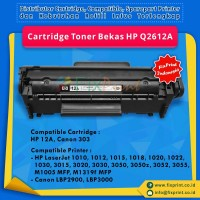 Cartridge Toner Bekas HP Q2612A 12A, Printer HP LaserJet 1010 1012 1015 1018 1020 1020 Plus 1022 Series 3015 3020 3030 3050 3050z 3052 3055 Canon LBP-2900 All-in-One M1005 MFP M1319f MFP