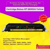 Cartridge Toner Bekas HP Q6002A 124A Yellow, Printer HP Laserjet 1600 2600 2600n 2600dn 2600dtn 2605 2605dn 2605dtn CM1015 CM1017