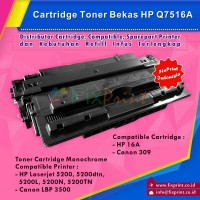 Cartridge Toner Bekas HP Q7516A HP 16A Canon 309 Bekas, Printer HP Laserjet 5200 Canon LBP 3500