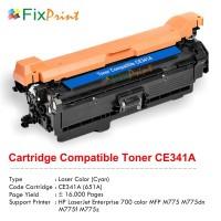 Cartridge Toner Compatible HP CE341A 651A Cyan, Printer HP LaserJet Enterprise 700 color MFP M775 M775dn M775f M775z