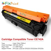 Cartridge Toner Compatible HP CE742A 307A Yellow, Printer HP Colour LaserJet CP5225 CP5225dn CP5225n