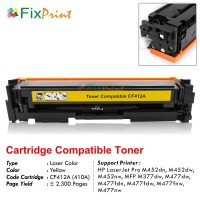 Cartridge Toner Compatible HP CF412A 410A Yellow, Printer HP LaserJet Pro M452dn M452dw M452nw MFP M377dw M477dw M477fdn M477fdw M477fnw M477nw