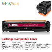 Cartridge Toner Compatible HP CF413A 410A Magenta, Printer HP LaserJet Pro M452dn M452dw M452nw MFP M377dw M477dw M477fdn M477fdw M477fnw M477nw