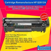 Cartridge Toner Remanufacture Q2612A 12A, HP LaserJet 1010 1012 1015 1018 1020 1020 Plus 1022 Series 3015 3020 3030 3050 3050z 3052 3055 Canon LBP2900All-in-One M1005 MFP M1319f MFP