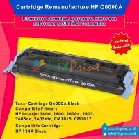Cartridge Toner Remanufactured Q6000A Black HP 124A, Printer HP Laserjet 1600 2600 2600n 2605 2605dn 2605dtn CM1015 CM1017
